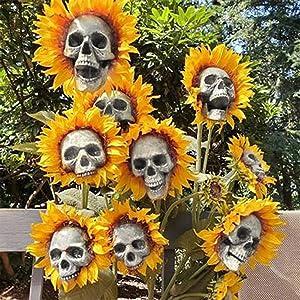 U/D Halloween Skull Sunflower Simulation Flower, Modern Resin Skull Shaped Head Design Flower, Skeleton Head Skull Flower Art Decoration for Halloween Garden Yard Decor