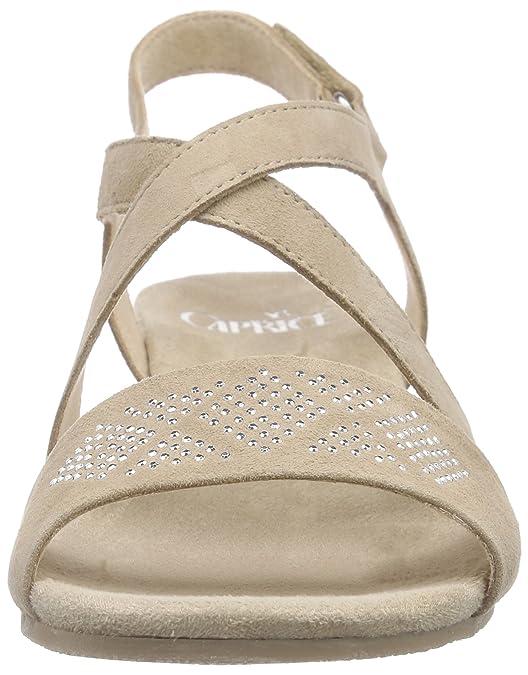 Caprice 28206, Sandales Bout Ouvert Femme - Beige - Beige (Sand Suede 360), 40