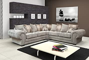 Corner Sofa Verona Fabric Grey Brown Cream Designer Scatter Cushions Living  Room Furniture (Light Grey Part 45