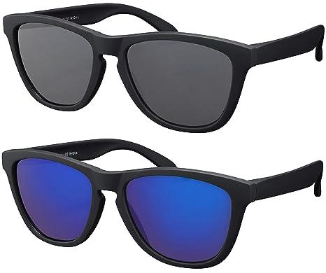 Original La Optica Verspiegelte UV400 Unisex Sonnenbrille Schmetterling Style - Farben, Einzel-/Doppelpacks (Einzelpack Rubber Schwarz (Gläser: Grau))