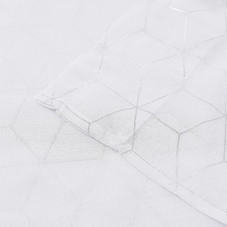 Deconovo Lot de 2 D/écorative Voilages Rideaux de Porte Chambre Enfant Int/érieur Oeillets Douce Motif Geometique Imprim/és Argents 132 x 214 cm Blanc