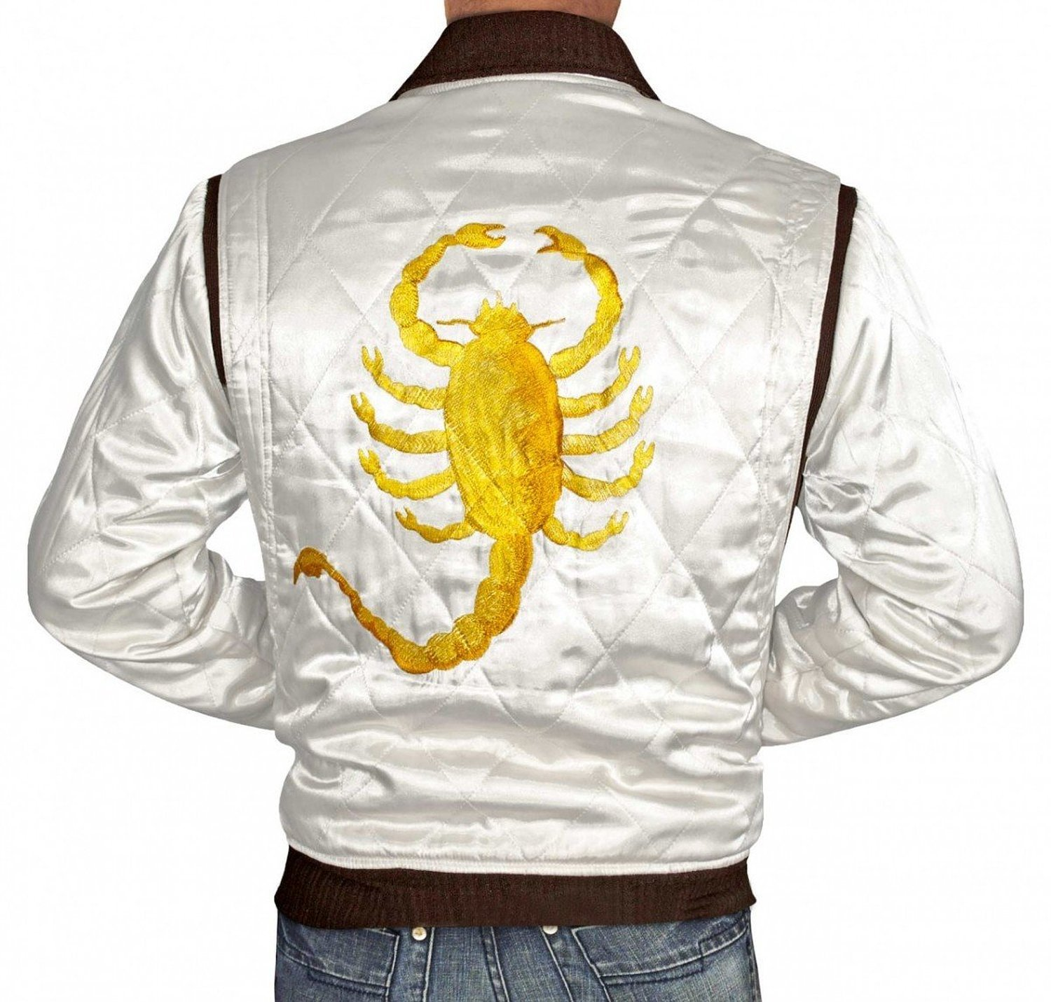 BlingSoul Drive Jacket - White Satin Mens Quilted Jacket (Medium)