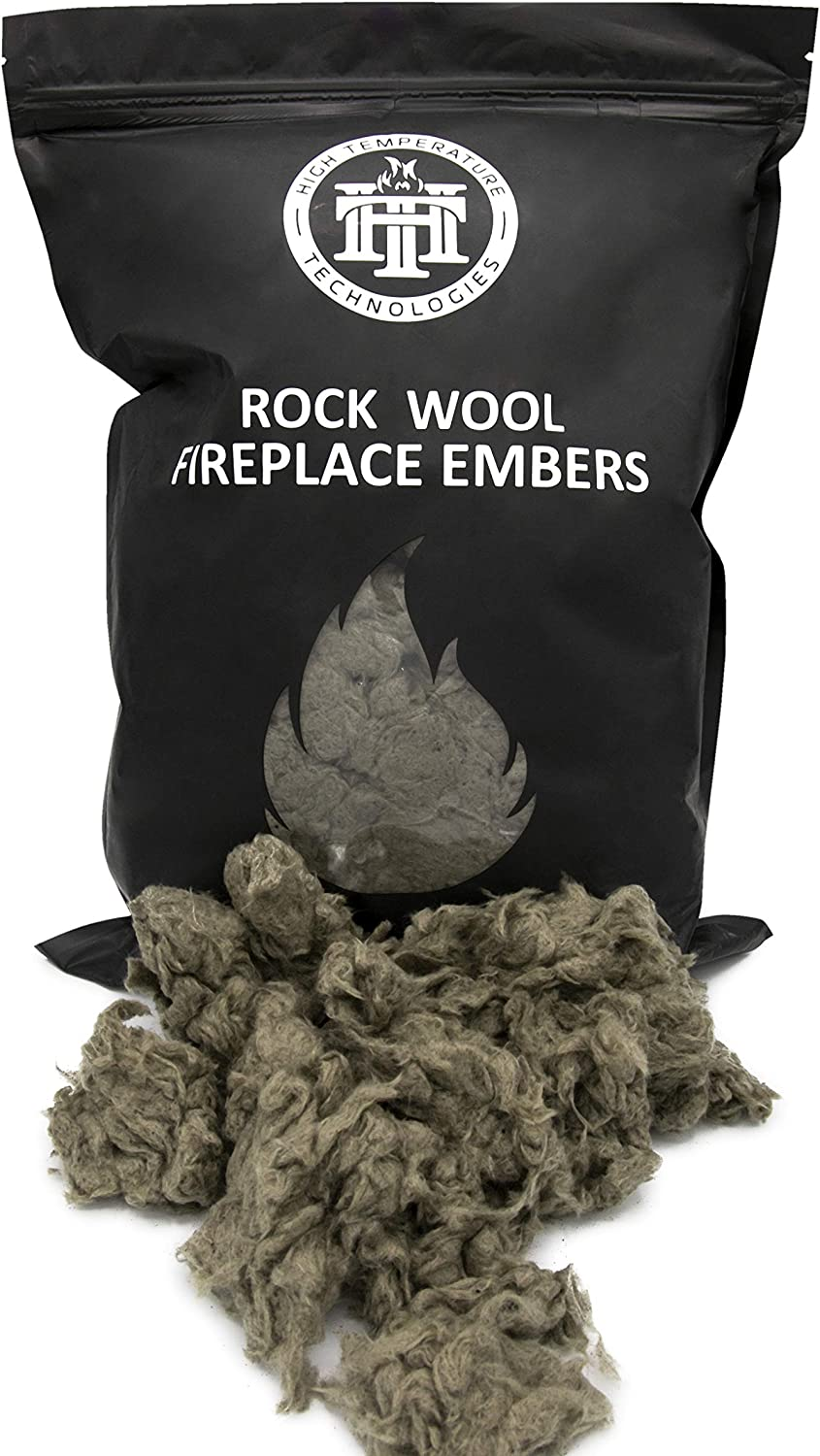 High Temperature Tech Replacement Rock Wool Embers for Gas Fireplaces/Gas Logs- Large 6 oz Bag