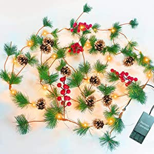 TURNMEON 10FT Christmas Garland with 30 Lights, Christmas Pinecone Lights Battery Operated Red Berry Pine Cone Bristle Xmas Decor (Warm White)