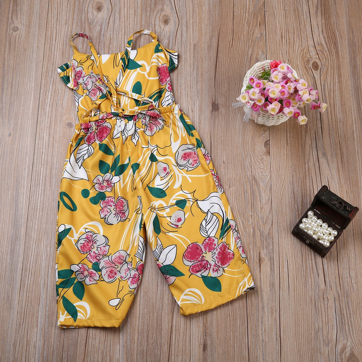2-7T Toddler Kids Floral Jumpsuit Romper Sleeveless Ruffle Overalls Strap Pants Outfits