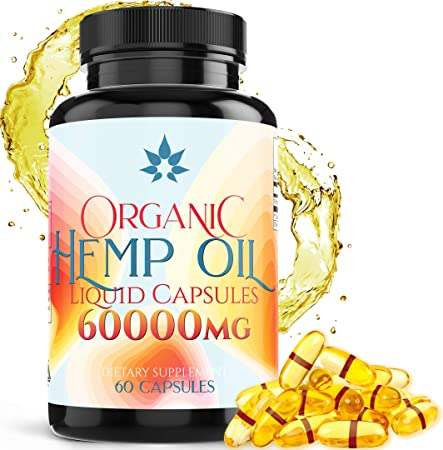 Hemp Oil Capsules - 60000mg for Pain Relief, Joint Pain, Muscle Aches, Stress & Anxiety - Natural Sleep & Mood Support - Rich in Omega 3 6 9 & fatty-acids Made in USA - 60 Softgels