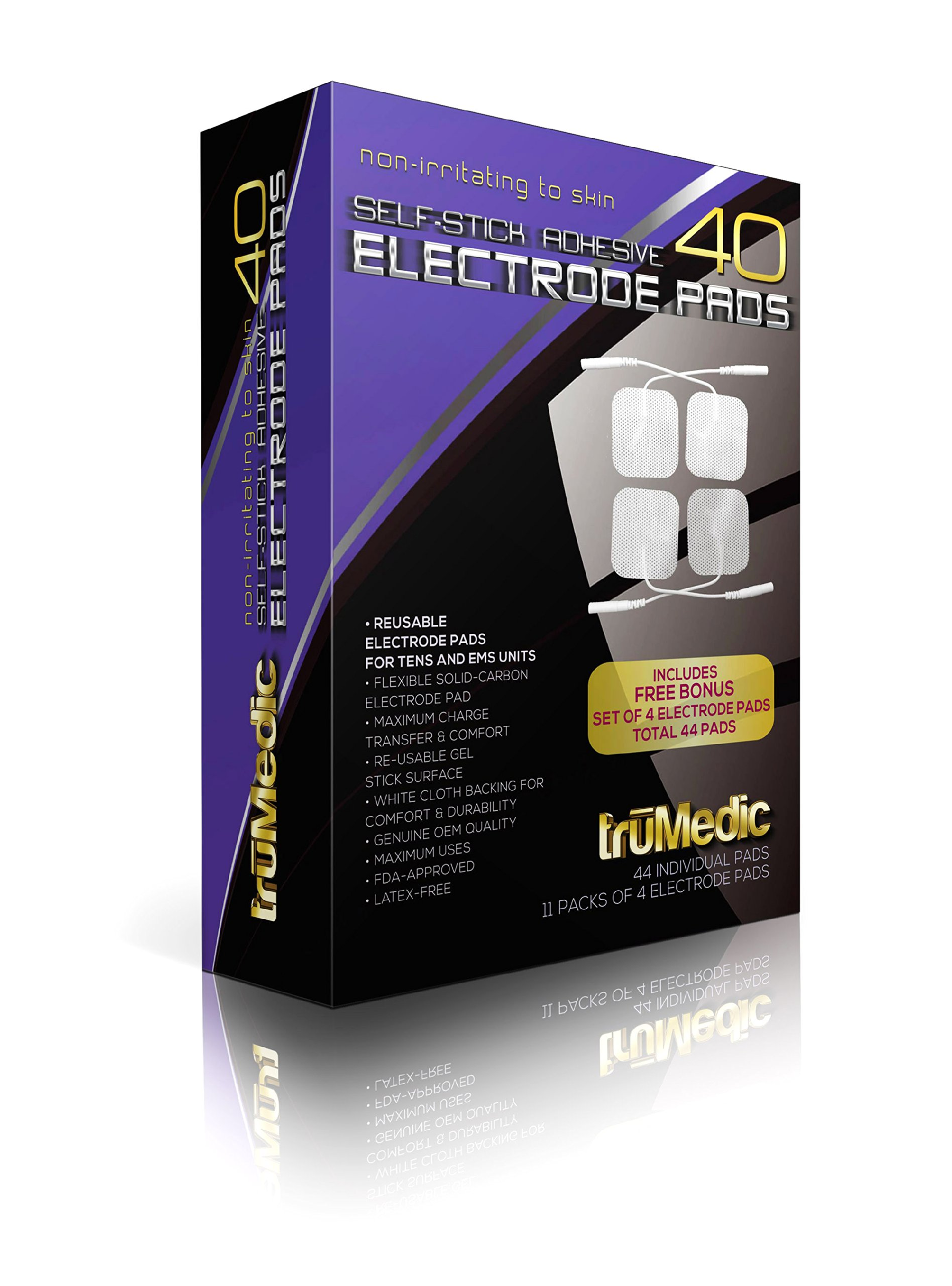 truMedic 40 Replacement Pads Oem Tens Electrode Pads with Bonus Set, White