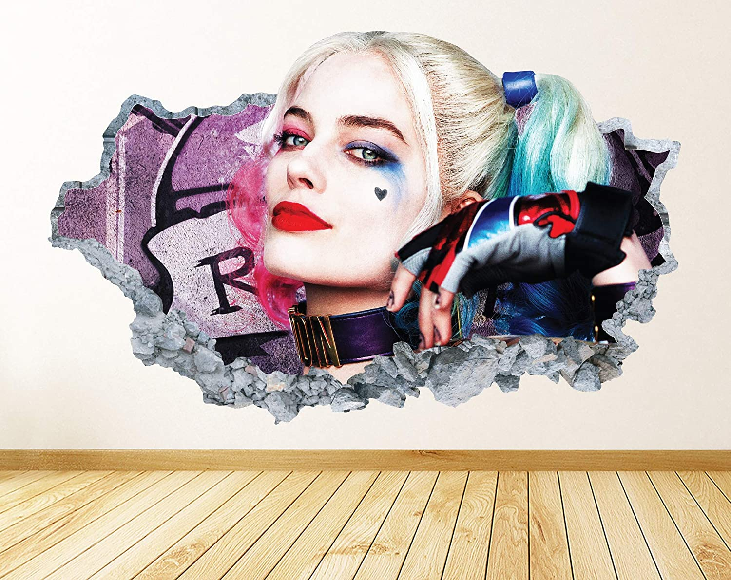 Harley Quinn Wall Decal Smashed 3D Graphic Superheroes Theme Vinyl Wall Sticker Decor Art Kids Room Mural Gift UP124 (38