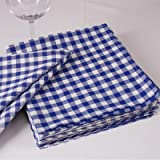Check Napkin, 1x 1cm Cotton, Available in a Range of Colours and Sizes Durchgewebt Squared Woven Table Linen, COTTON, Blau und Weiß, 40 x 40 cm