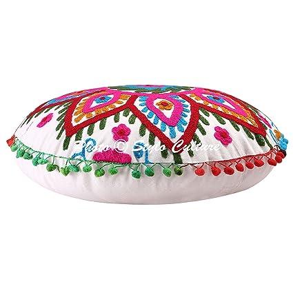 Amazoncom Stylo Culture Round Floor Cushion Cover Ethnic Ottoman