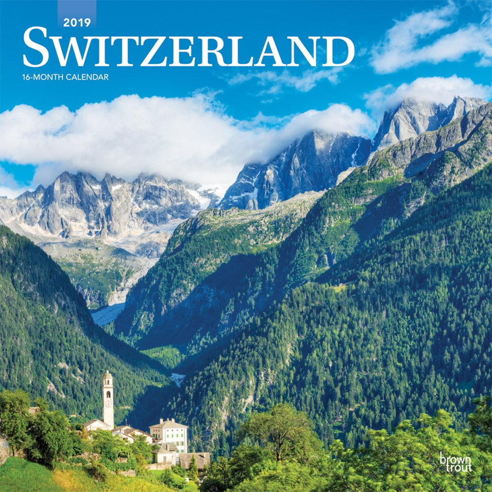 Switzerland 2019 12 x 12 Inch Monthly Square Wall Calendar, Scenic Travel Europe Swiss Alps by BrownTrout Publishers