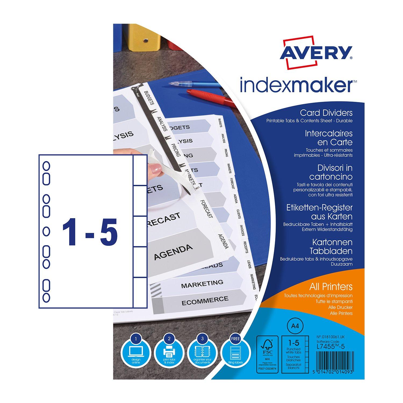 Avery 01810061 Index Maker Divisori Personalizzabili con Etichette Trasparenti, 5 Tasti 297x225x3 01810061.UK