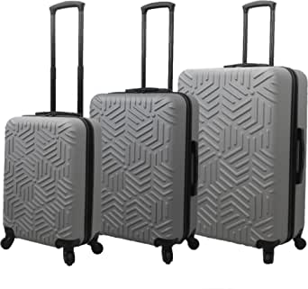 Mia Toro Italy Molded Art Labyrinth Hard Side Spinner Luggage 3 Piece Set