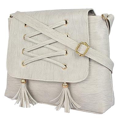 Aeee Women s Designer PU Sling Bag Off-white  Amazon.in  Shoes   Handbags e391896bb0d0e