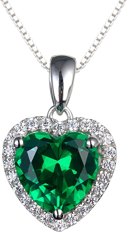 Navachi - Collar con colgante en forma de corazón con rubí o esmeralda, plata de ley de 18 kt chapada en oro blanco de 3,7kt, longitud del colgante: 40 cm
