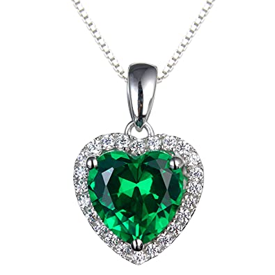 Navachi 925 Sterling Silver 18k White Gold Plated 3.7ct Heart Ruby or Emerald Necklace Pendant 16 Hyi1wkEJ