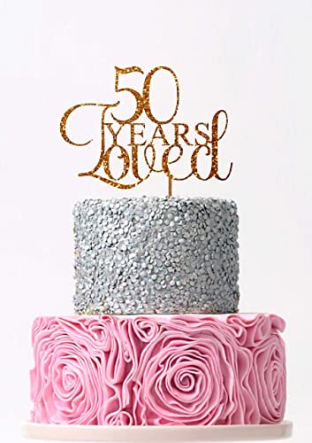 Remarkable Amazon Com 50 Years Loved Cake Topper 50Th Birthday Cake Topper Funny Birthday Cards Online Drosicarndamsfinfo