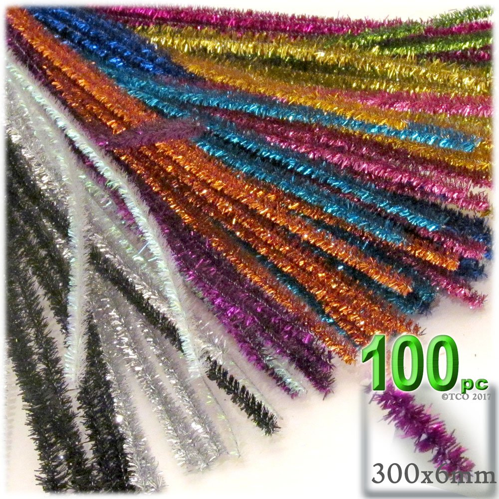 The Crafts Outlet Chenille Sparkly Stems, Pipe Cleaner, 12-in (30-cm), 100-pc, Mixed Pack