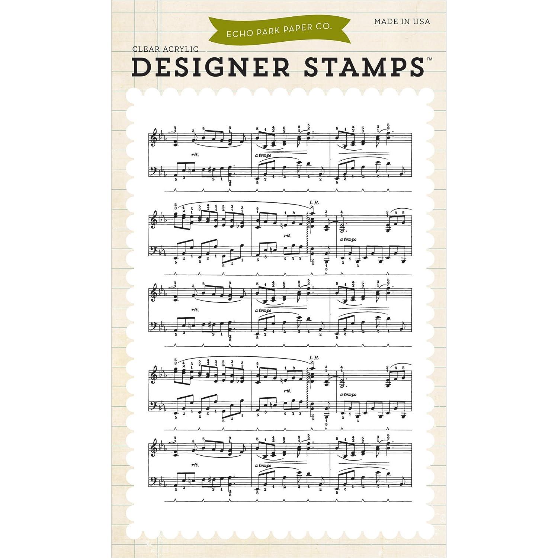 Echo Park Paper acrilico Stamps 4 x 6 cm, motivo note musicali, Backg