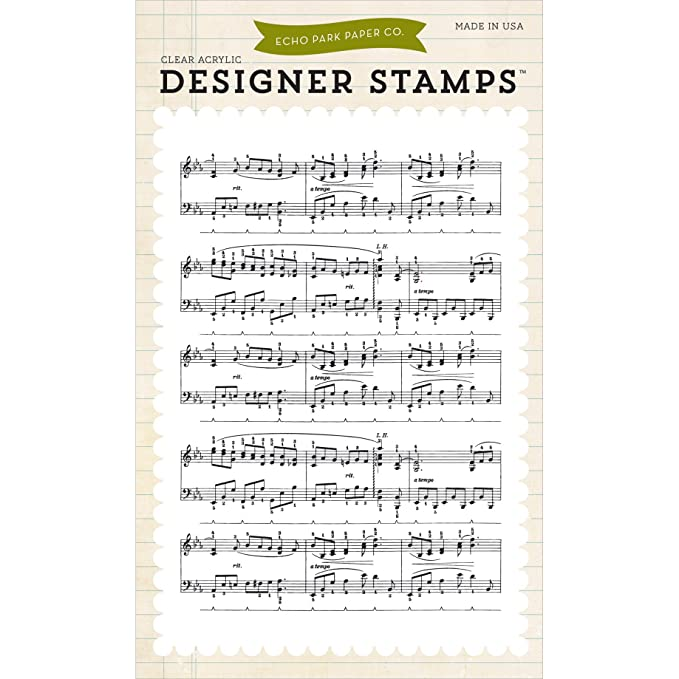 Echo Park Paper Company EPSTAMP14 Musical Notes Background Stamp Set