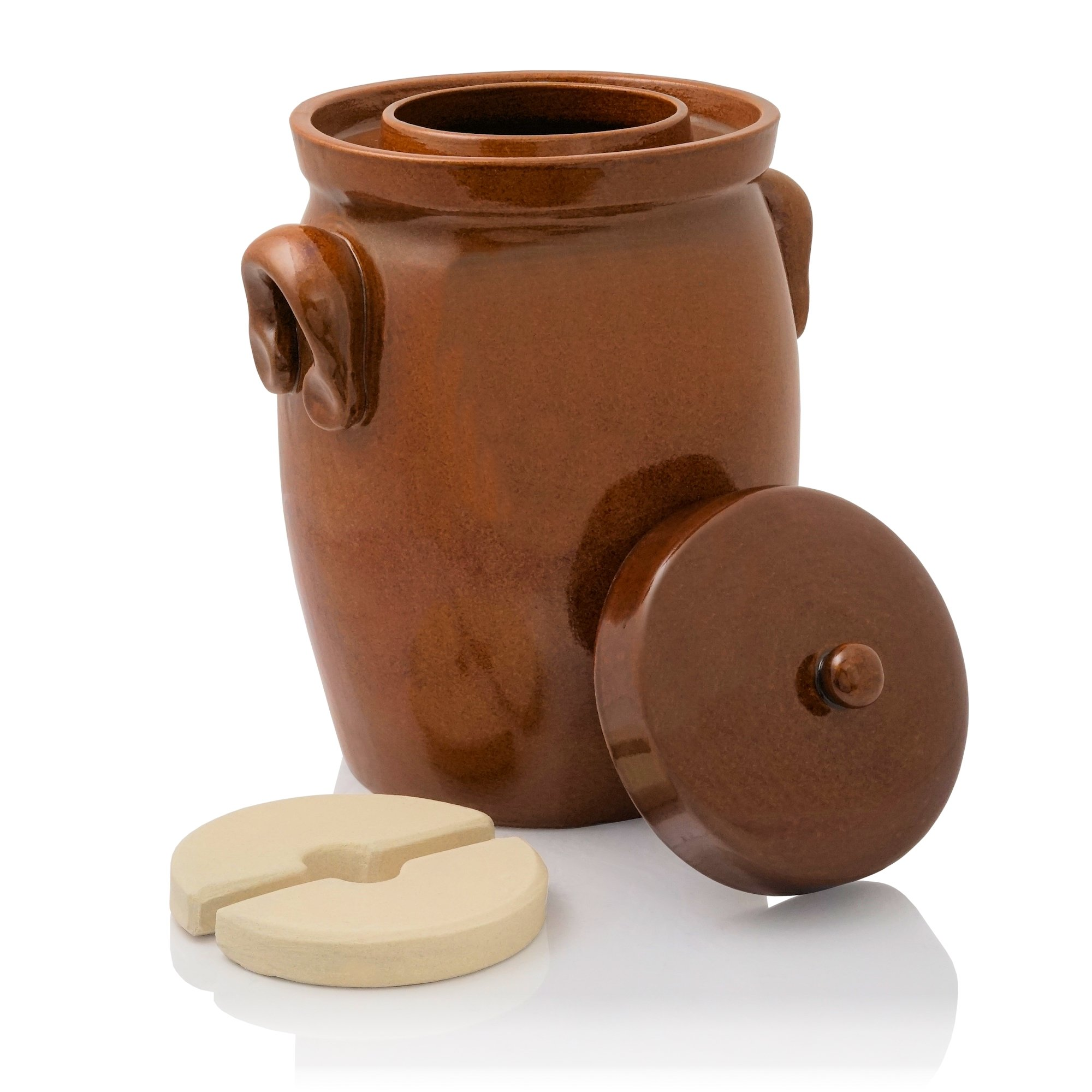 K&K German Fermenting Pot | brown | Fermentation Jar | Crock Pot | Made in Germany (5.0 Liter (1.3 Gal))