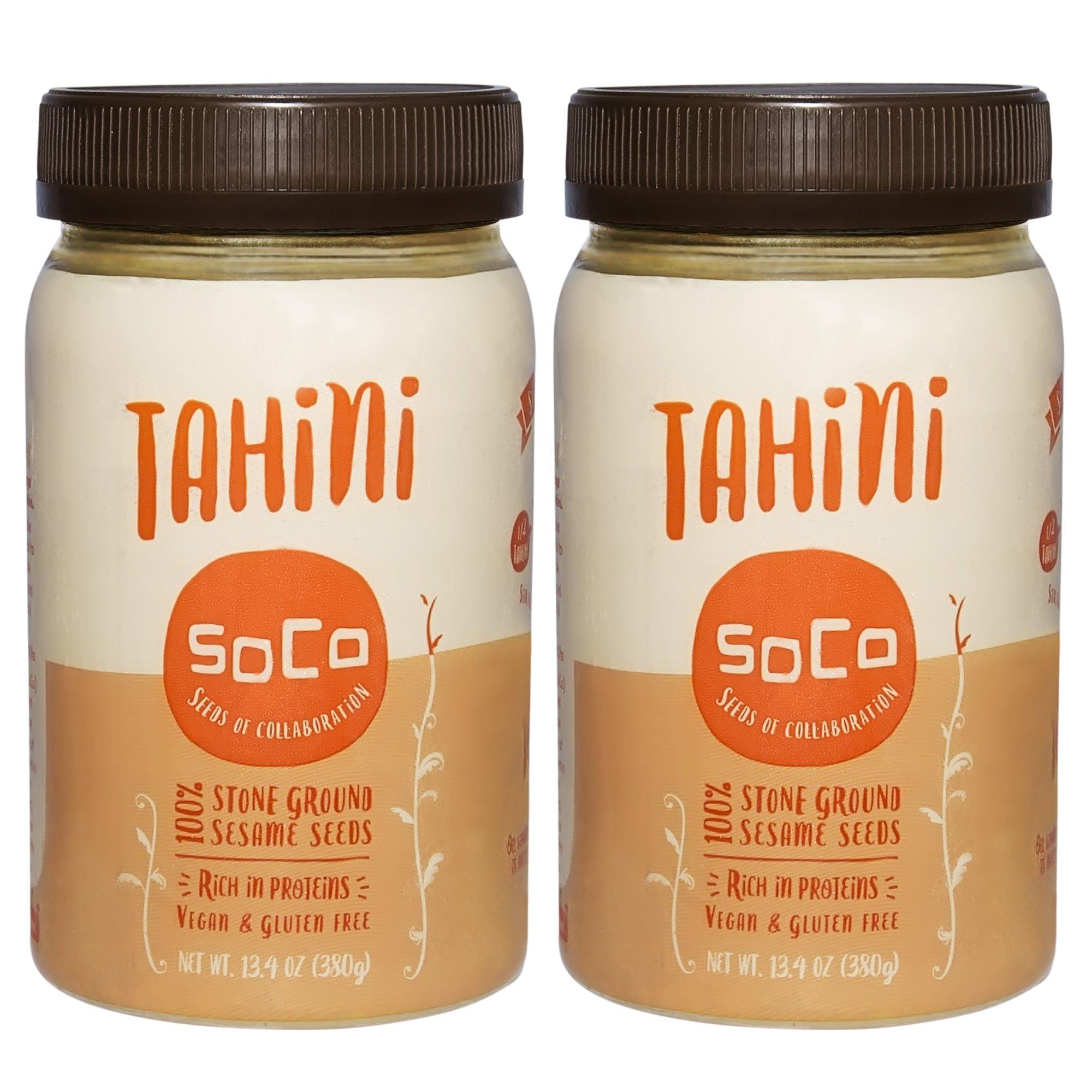 SoCo 100% Pure Premium Kosher Tahini - All Natural, Stone-Ground, Toasted, Vegan, Paleo, Gluten-Free, 26 Ounces (2 Pack) - We Help Students!