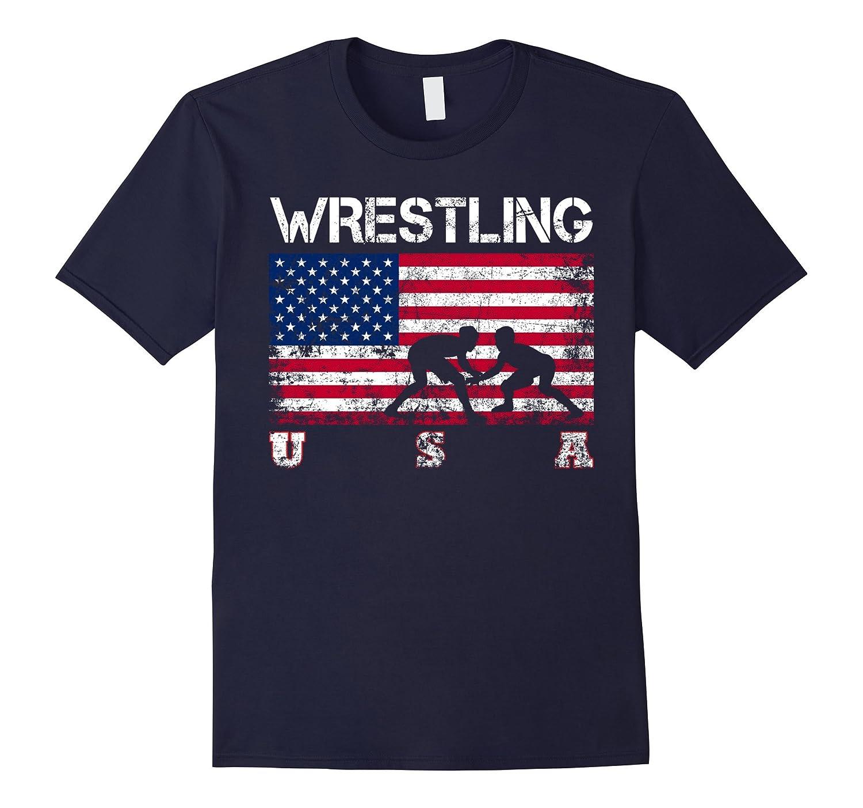 Wrestling Team Gift - American Flag Wrestling T-Shirt-Art