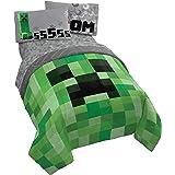 Jay Franco Minecraft Creeper 5 Piece Full Bed Set - Includes Reversible Comforter & Sheet Set - Super Soft Fade Resistant Mic