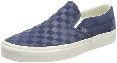 018589ee10 Vans Men s Adults  Classic Slip On Trainers Blue ((Checker Emboss) Vintage  Indigo