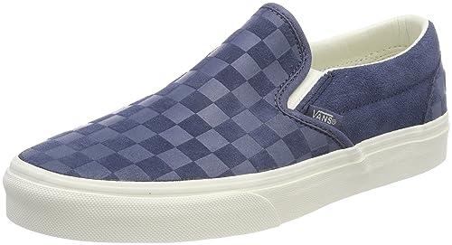 e81a617e944 Vans Men s Adults  Classic Slip On Trainers Blue ((Checker Emboss) Vintage  Indigo