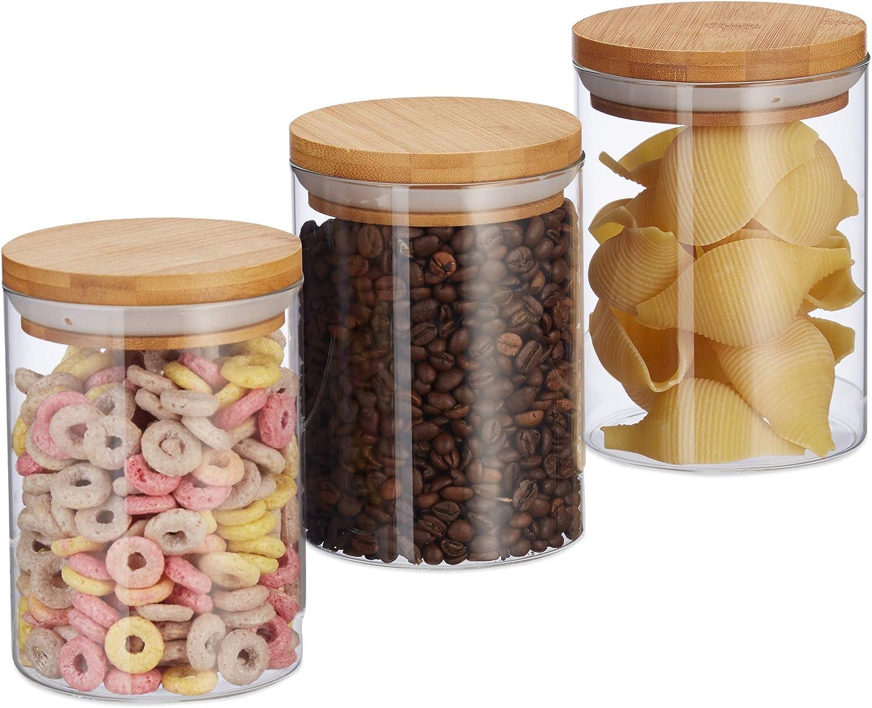 Volumen 600 ml Reis HxD 14x9,5 cm M/üsli 3er Set f/ür Pasta Kaffeebohnen Natur Relaxdays 10027994 Vorratsdosen Glas Bambus