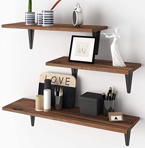 Amazon.com: BAMEOS Floating Shelves, Rustic Wood Wall Storage Shelves, Wall Mounted Shelf Organizer Set Of 3 For Living Room, Bedroom, Kitchen, Bathroom, Office: Kitchen & Dining