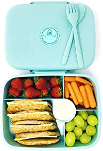 Eco Friendly Bento Lunch Box for Adults and Kids, Microwave and Dishwasher Safe, 3 Colors available, BPA-Free and 5 Compartments, Cutlery included (blue)