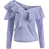 AOMEI Blue Striped Novelty Blouse Shirts for Women