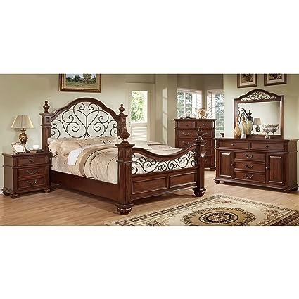 Amazon.com: Furniture of America Barath 4-Piece Antique Dark ...