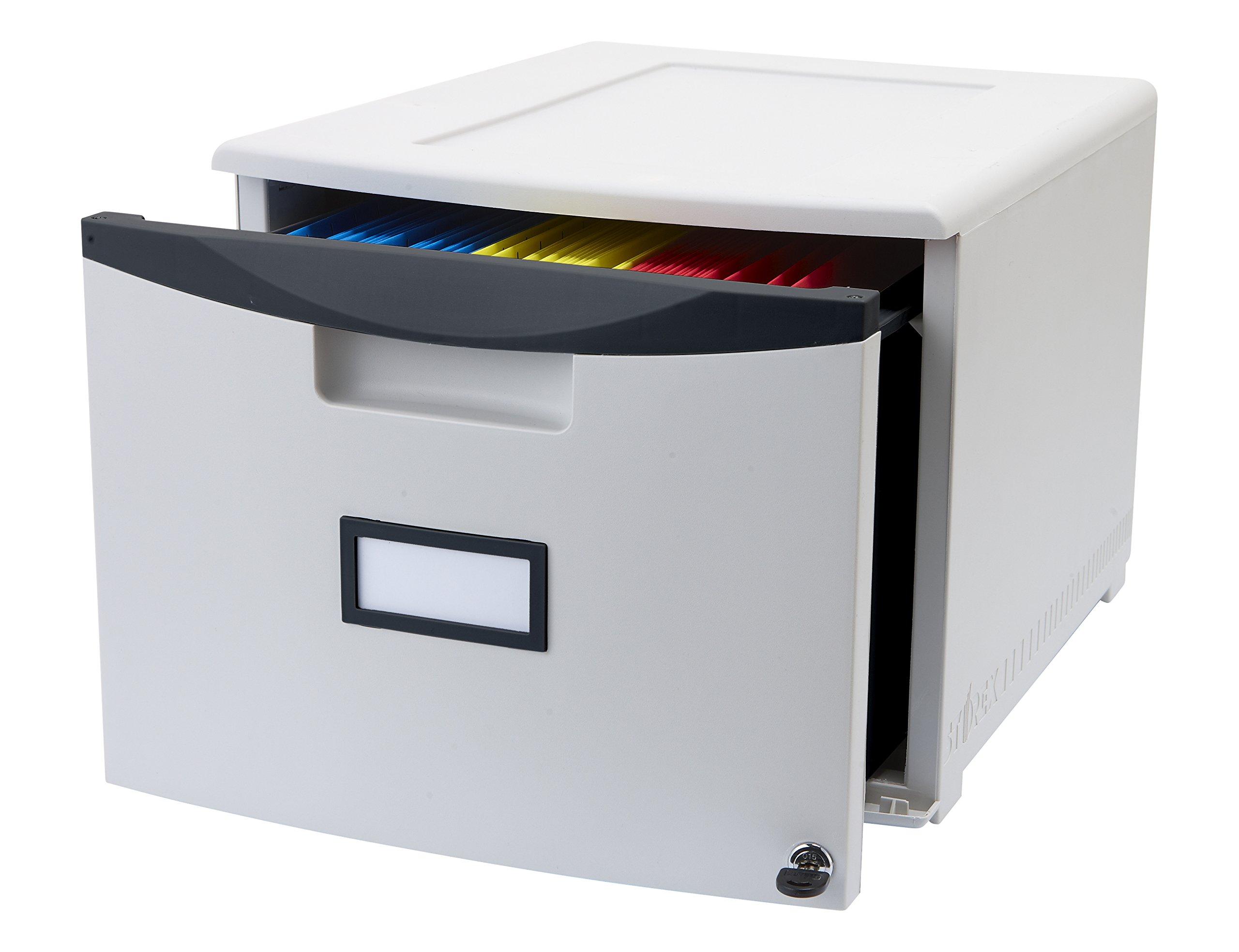 Storex 61267B01C Plastic 1-Drawer Portable File Cabinet, Letter/Legal, Gray/Black