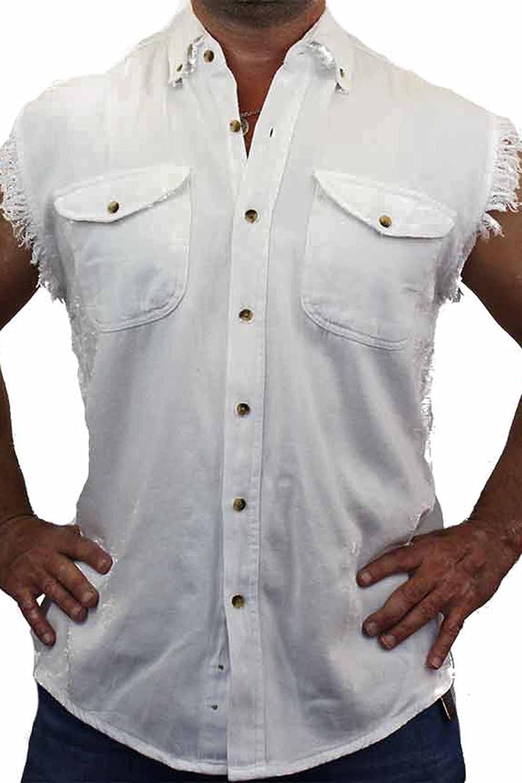 ac459a0e9bf Mens Sleeveless Cotton Twill Motorcycle Shirts - BCD Tofu House
