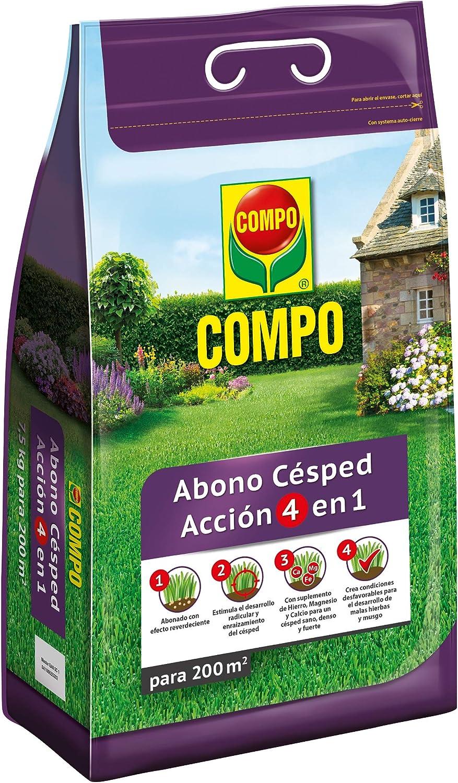 Compo Abono de césped Acción 4 en 1, para 200 m², 7.5 kg: Amazon.es: Jardín