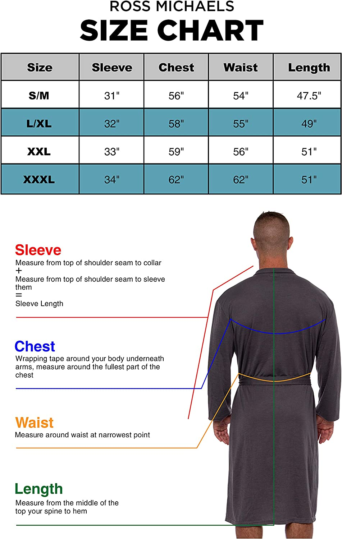 Luxury Knit Sleep Jersey Bathrobe w//Tie Waist Ross Michaels Mens Lightweight Robe