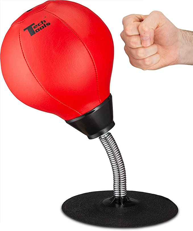 Axe Black Red Decorative Desktop Punching Bag with Air Pump fun Stress Hammer