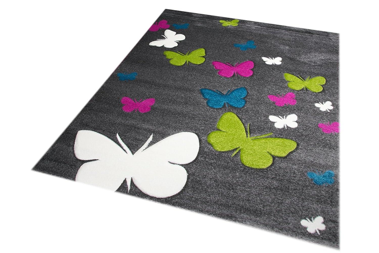 Kinderteppich Spielteppich Kinderzimmer Teppich Schmetterling Design mit Konturenschnitt Konturenschnitt Konturenschnitt Grau Pink Türkis Grün Creme Größe 160x230 cm 07aebb