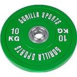 GORILLA SPORTS Olympia-Hantelscheiben 50/51 mm Gummi - Bumper Plates in 5 Farb- und Gewichtsvarianten 5-25 kg