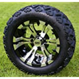 12' VAMPIRE Machined/Black Golf Cart Wheels and 20x10-12 DOT All Terrain Golf Cart Tires - Set of 4 - NO LIFT REQUIRED…