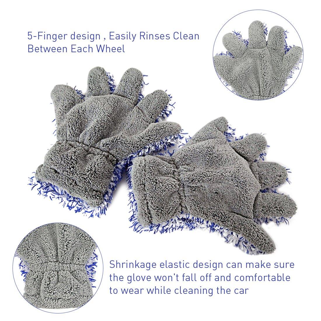 2 Fünf Finger Handschuhe Chenille Mikrofaser Waschen Reinigung Handschuhe für Auto und Motorrad Waschen Trocknen Handtücher Küche Reinigen Fenster Reinigung Farbe in Grau/Blau