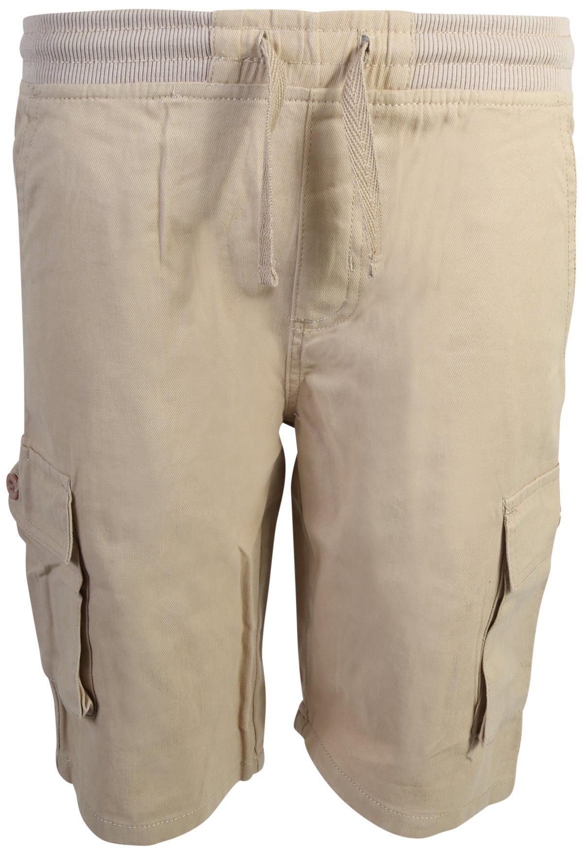 Quad Seven Boys Pull-On Twill Cargo Shorts, Khaki, Size 12'