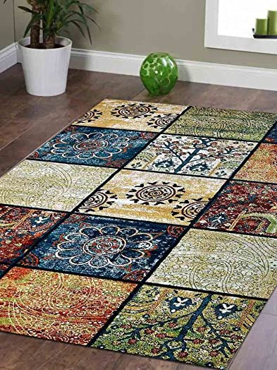 Rugsotic Carpets Machine Woven Heatset Polypropylene 10 x13 Area Rug Contemporary Multicolor M00049