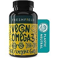 Freshfield Vegan Omega 3 DHA Supplement: 2 Month Supply. Premium Algae Oil, Plant Based, Sustainable, Mercury Free…