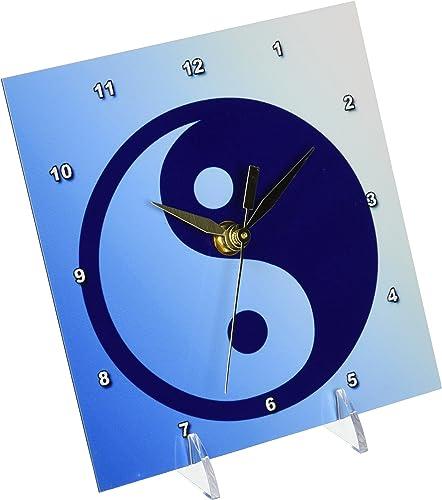3dRose dc_42709_1 Blue Zen Yin Yang-Spirituality-Balance-Art-Desk Clock, 6 by 6-Inch