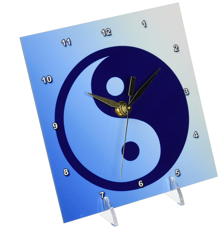 3dRose dc/_42709/_1 Blue Zen Yin Yang-Spirituality-Balance-Art-Desk Clock 6 by 6-Inch