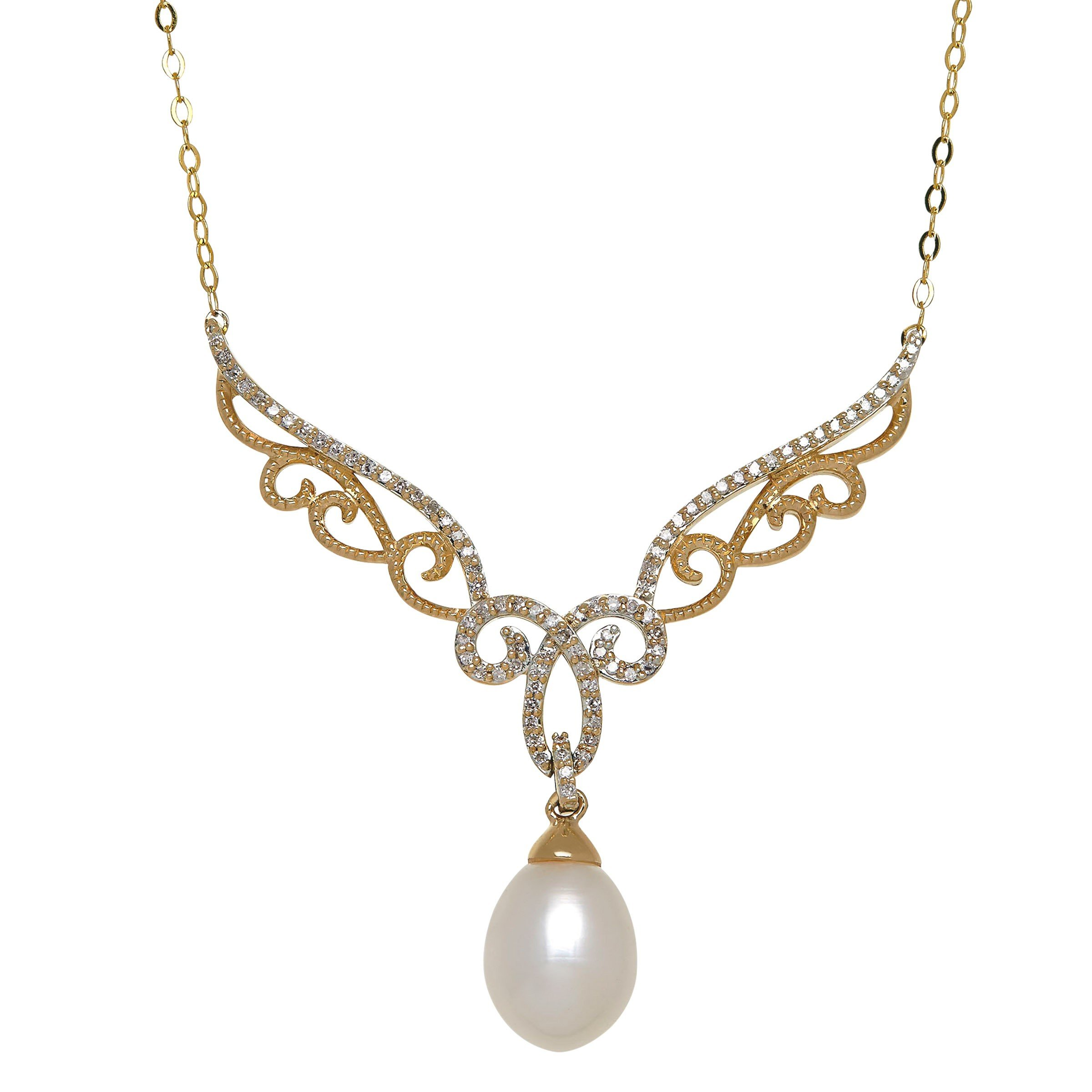 Freshwater Cultured Pearl & 1/5 ct Diamond Filigree Garland Necklace in 14K Gold